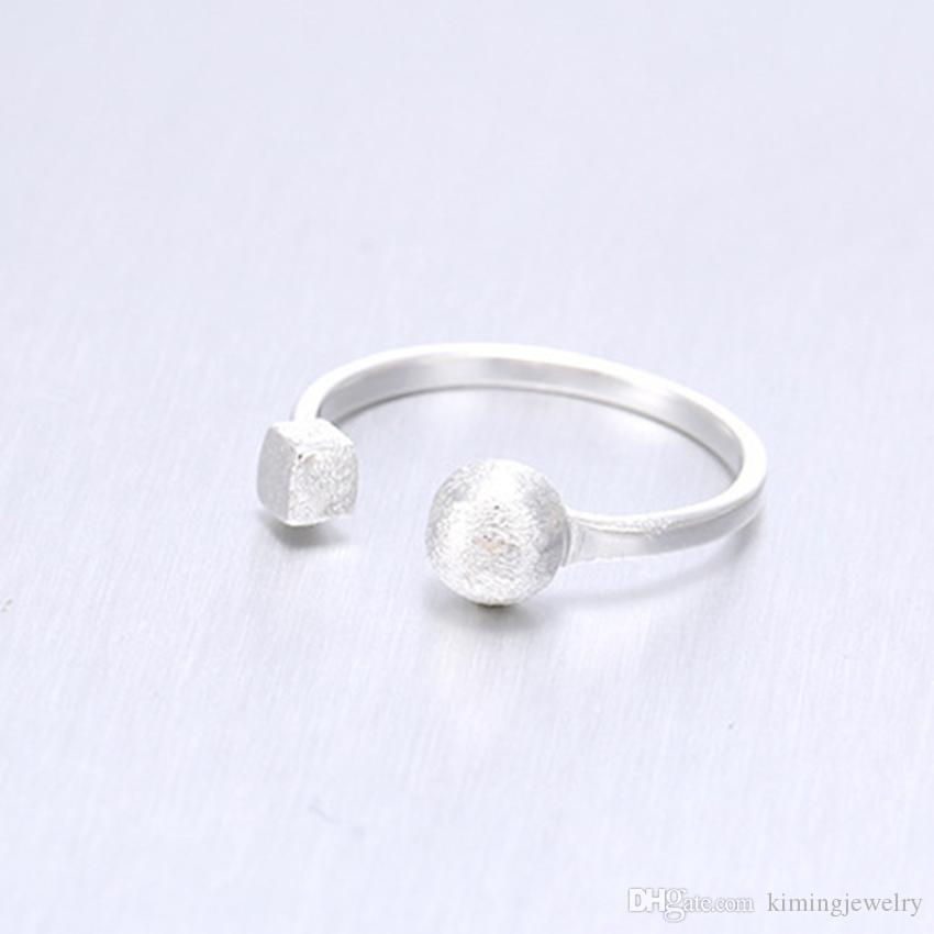 Hot sale Real 925 Sterling Silver Ring Simple Design Small Ball&Square Ring Women Jewelry Gift Finger Rings Anillo Anel De