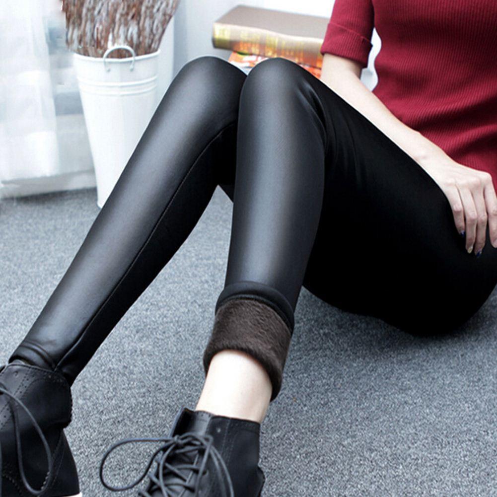 Moda Kadınlar Kış Sıcak Pantolon Kadın Deri Pantolon Kalın Kadife Streç Elastik Kalem Sıska Pantolon Kadın Sıkı Pantolon W2