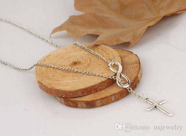 Lady Fashion Infinity Cross Pendant Necklaces sweater chain Wedding Party Contracted good luck number eight short cross necklace