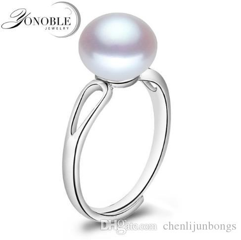 Real natural pearl ring 8-9mm 925 silver wedding rings men adjustable pearl ring for women wife anniversary gift white pink