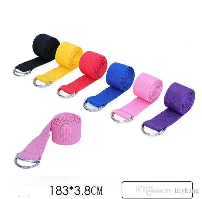 Multi-Colors Women Yoga Stretch Cinturino D-Ring Cintura Fitness Esercizio Gym Rope Figura Vita Leg Resistance Fitness Bands Cotone