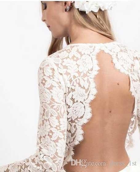 2017 Modest Ivory Lace Long Sleeve Backless Short Homecoming Dresses Cheap Mini Formal Party Prom Gowns Custom Made China EN4261