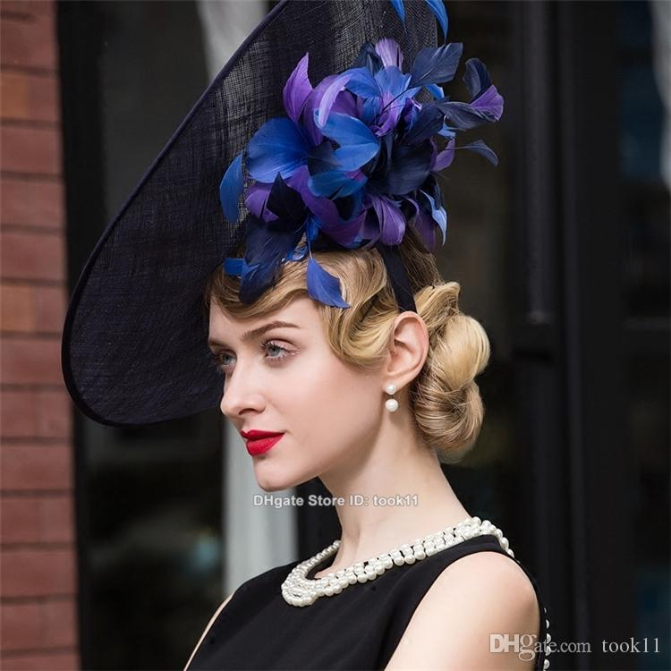 2b4bed1028f9c Fashion Racecourse Kentucky Derby Hats For Tea Party Dresses White Black  Women Church Hats Big Elegant Hat Sombrero Fedora Chapeau Femme Flat Brim  Hats Mens ...