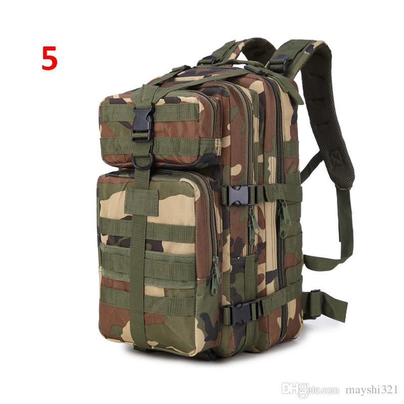 Atacado Ao Ar Livre 3P Militar Tactical Mochilas de Nylon À Prova D 'Água Oxford Camuflagem 35L Mochilas Camping Caminhadas Saco Trekking Saco Sho