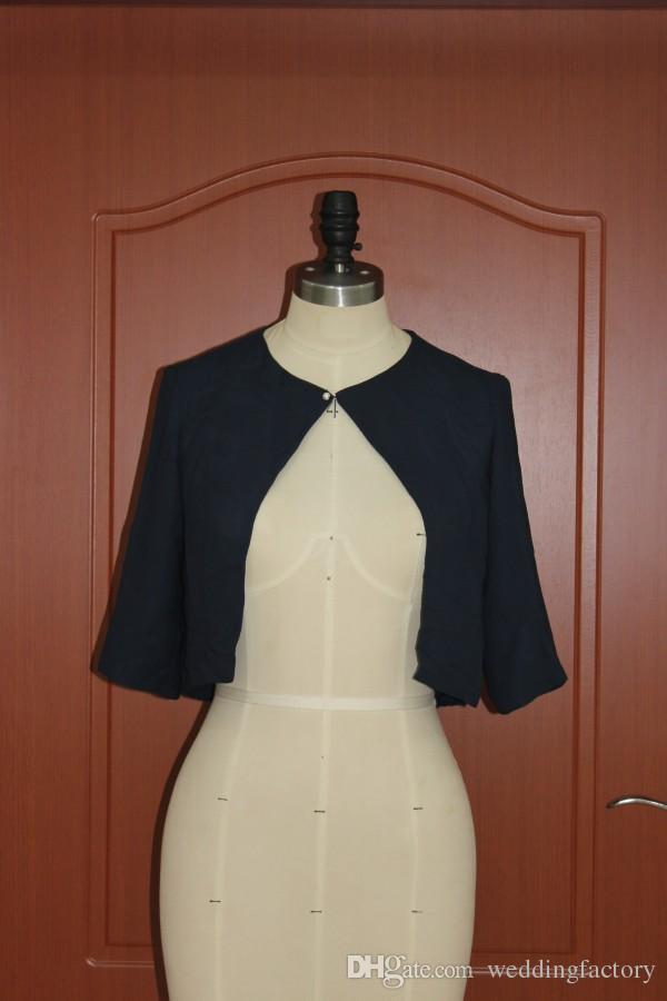 Echtes Bild Dark Navy Blue Chiffon Bolero Jacke Frauen Wrap Hochzeit Abendgesellschaft Formale Modest Jacken Wrap Hohe Qualität
