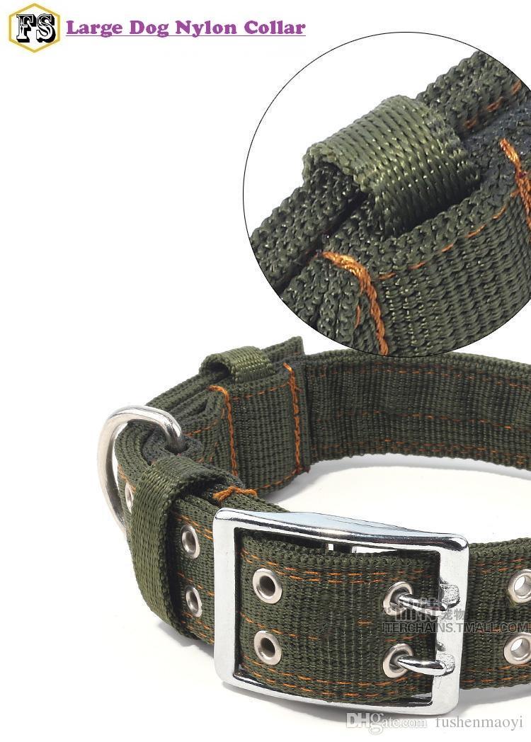Neue Ankunft Hundehalsbänder Haustier liefert 5cm Nylon Doppelschnalle große Hunde Kragen 2 Farben 2 Größen wholesale freies Verschiffen