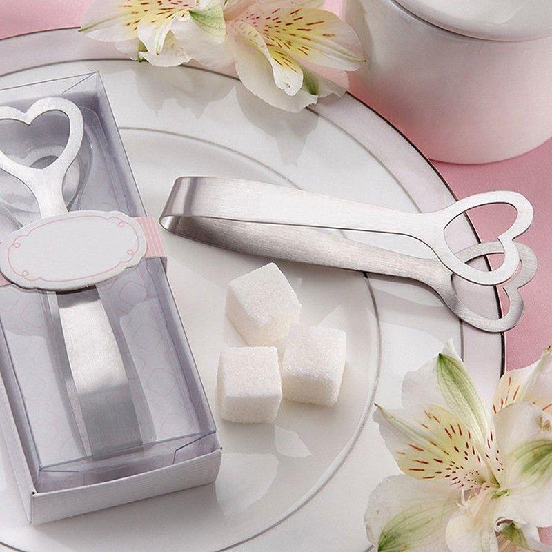 Mini heart shape Stainless Steel Ice Clamp Coffee Sugar Clamp Nip Tongs Tool Bar Barbecue BBQ Clip WA1431