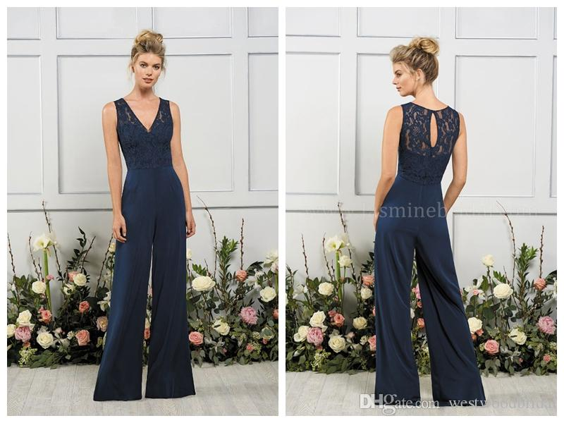 2018 Bridesmaid Dresses Navy Chiffon Lace Pants Prom Dresses Jasmine ...