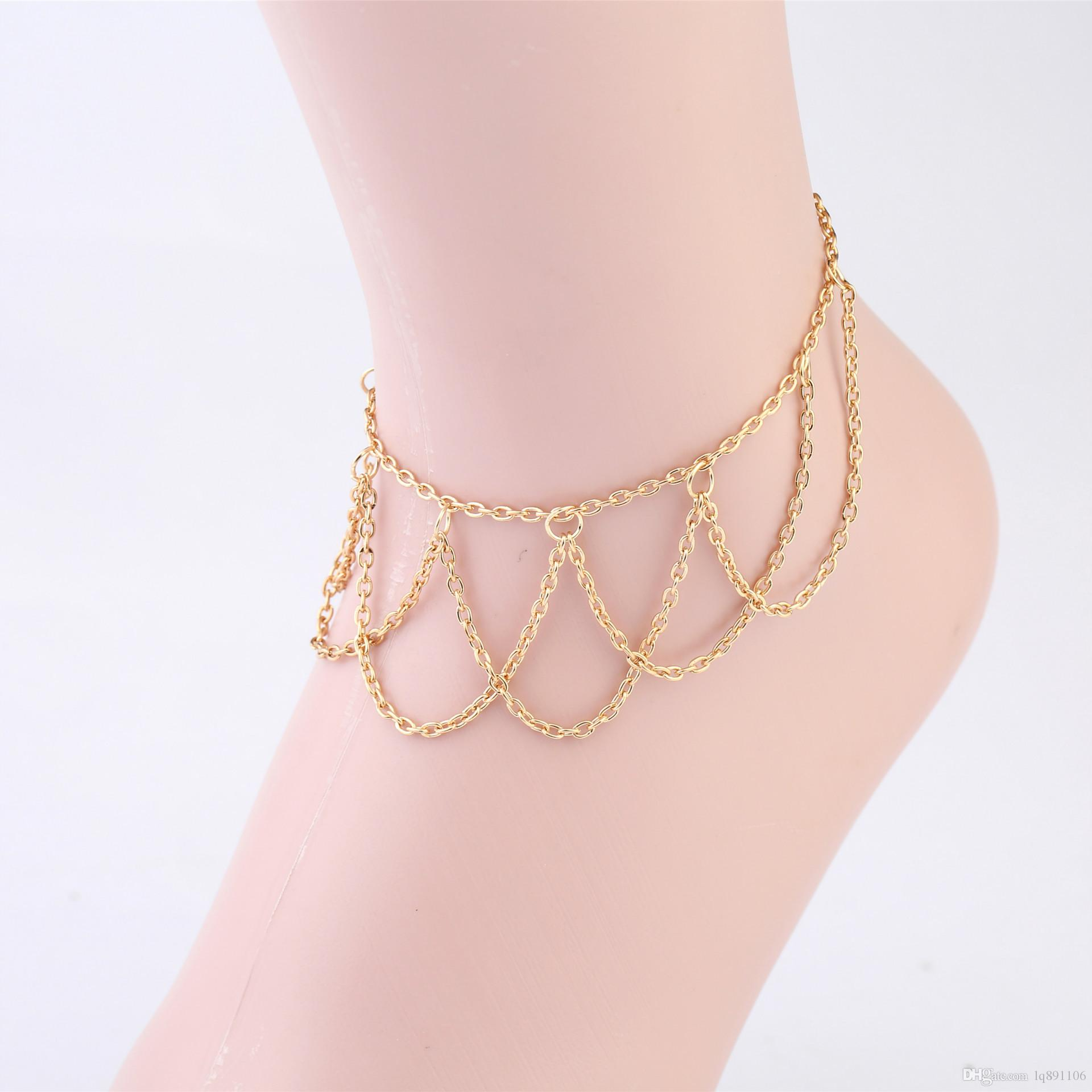 braided anklet foxtail free overstock gold product bracelet jewelry today link shipping watches ankle inch