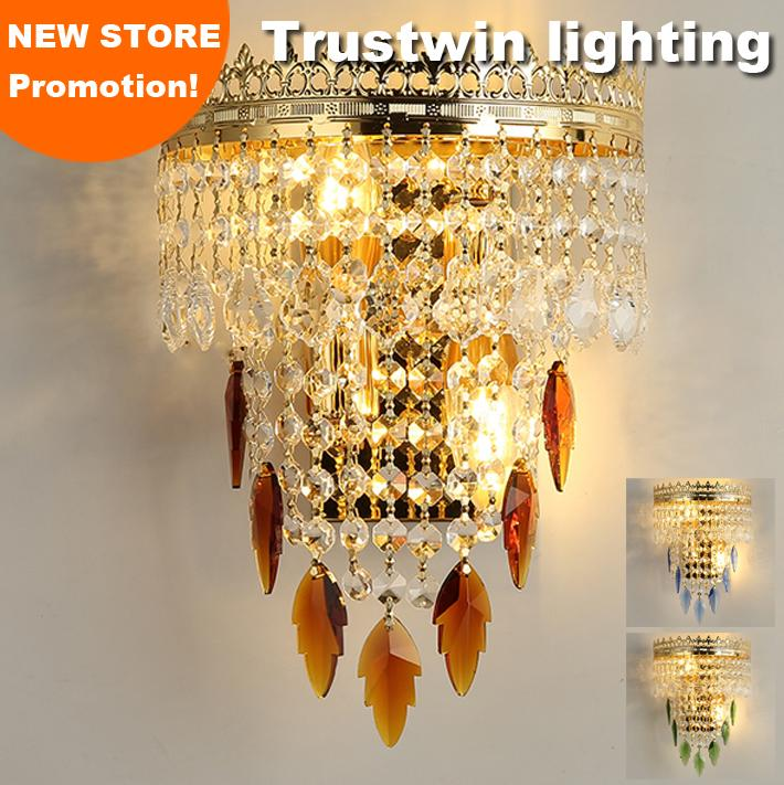 European wall braket LED optional vintage classic K9 crysting foyer living decorative gold wall lamp sconce crystal wall light