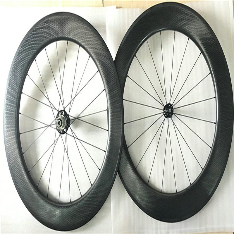2018 New style road bike carbon wheels 80mm dimples surface taiwan bicycle carbon wheels 700C 25mm V brake dimpled wheelset