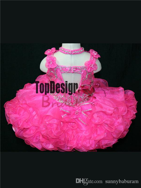 2017 WHOLESALE ORGANZA HOT PINK BABY PAGEANT DRESS LITTLE GIRL CUPCAKE DRESSES BR1032