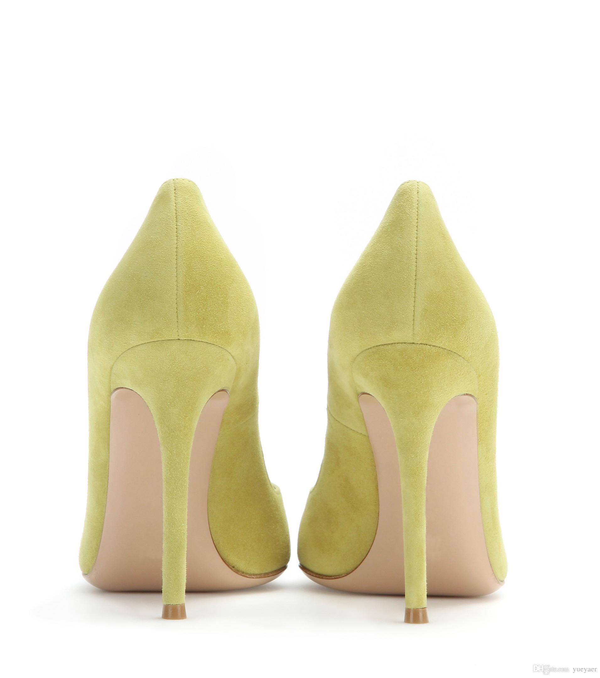 Zandina Dames À La Main De Mode Élégant 100mm Pointu Basique De Bureau Parti Prom High Heel Pumps Chaussures Citron