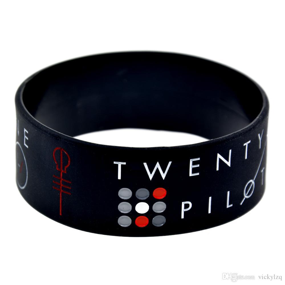 / bracelet de silicone de vingt-et-un pilotes Bracelet large de 1 pouce grand utilisé dans n'importe quel cadeau d'avantages pour les fans de musique