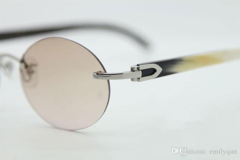 Marca Designer Sem Aro Óculos De Sol para Homens Preto Branco Chifre de Búfalo Óculos Redondos Óculos Frames Exquisite Óculos de Sol Mulheres Óculos De Sol