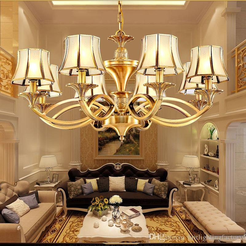 European Style Living Room Chandeliers Retro American Prototype Room All Copper Lamp Simple Dining Room Bedroom Study Office Chandelier Lamp