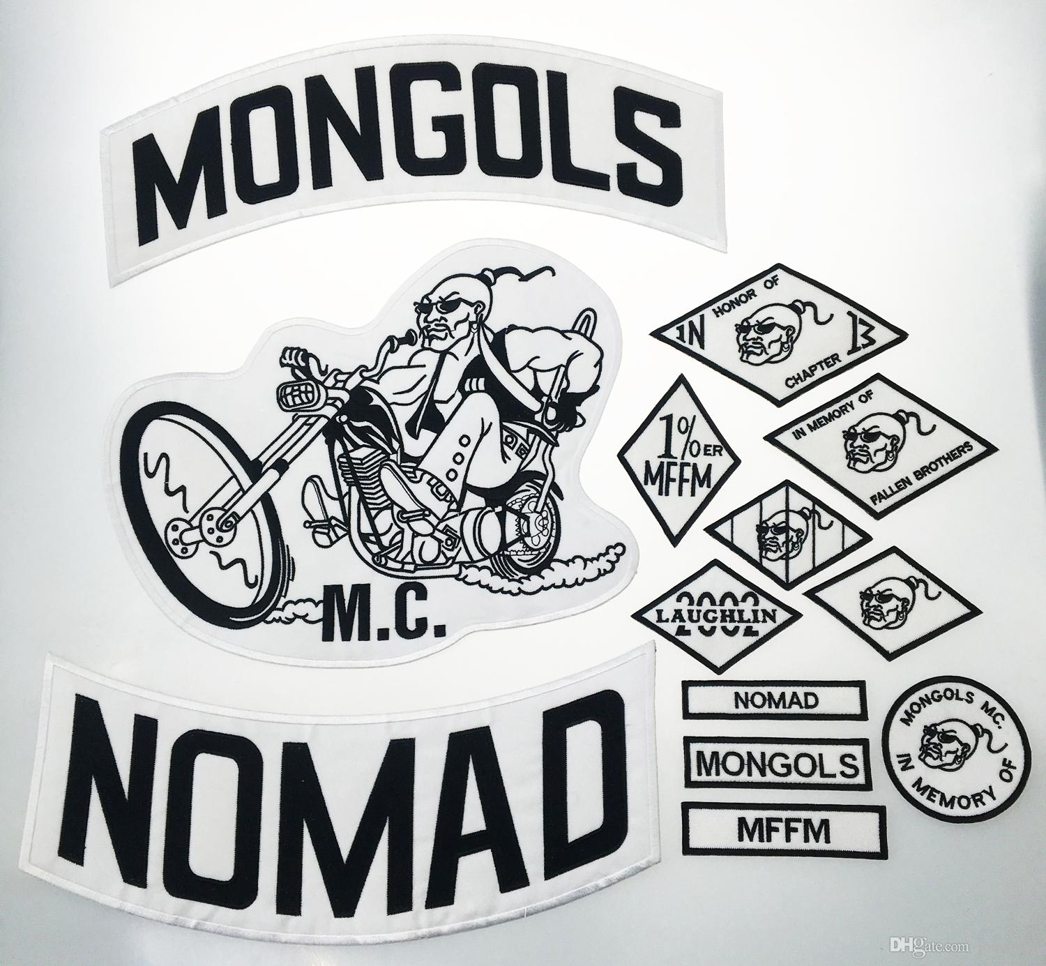 Top Quality MONGOLS NOMAD MC Biker Vest Embroidered Patch 1% MFFM IN Memory  Iron On Full Back of Jacket Motorcyle Patch Free Shipping