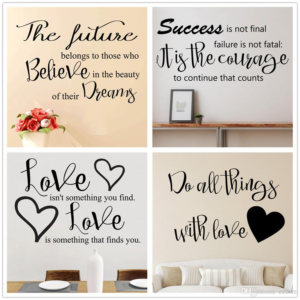 Love Wall Decal Inspirational Wall Sticker Words Quotes Heart Shape Decals  Vinyl Removable Wall Sayings Stickers Home Art Decor Childrens Removable  Wall ...