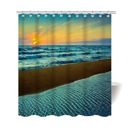Summer Beautiful Beach Shower Curtain Polyester Fabric Mildew Proof Waterproof Cloth Room Decor Curtains 60x72