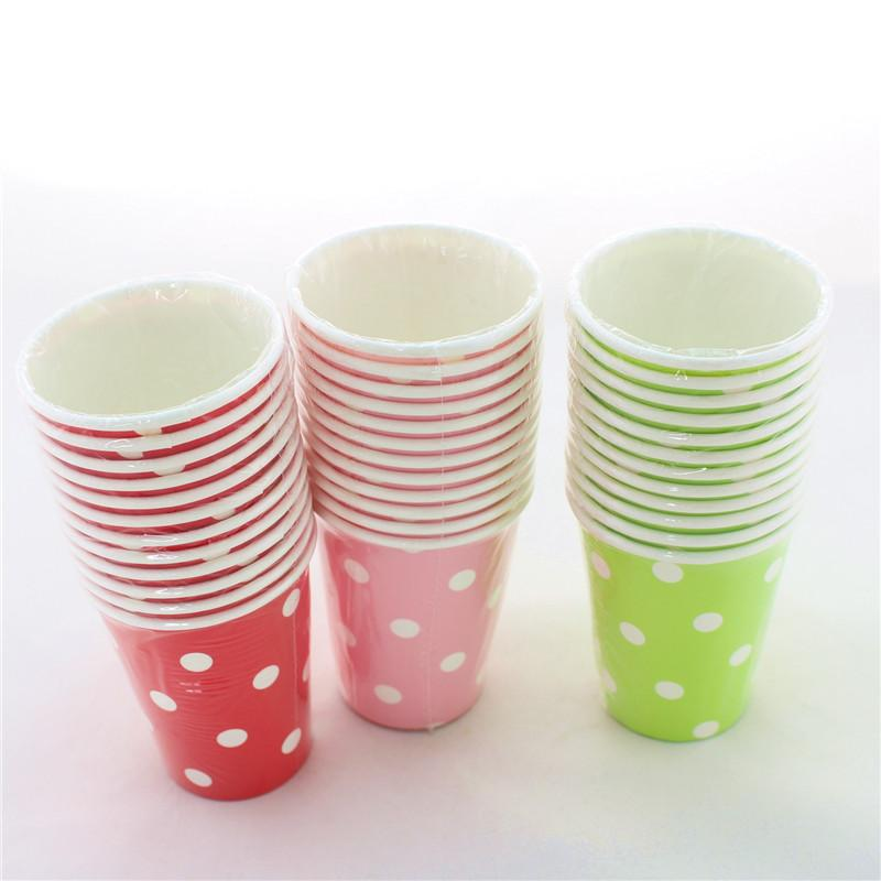 Wholesale-Free Shipping!!! 300 pcs/lot Colorful Party Paper Cups Wedding  Graduation Supplies 9 oz Polka dot Paper Cups
