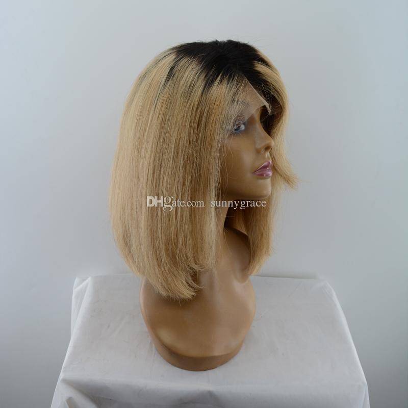 honey blonde wigs ombre human hair front lace wig bob style blonde 27 brazilian virgin hair short ombre full lace wigs