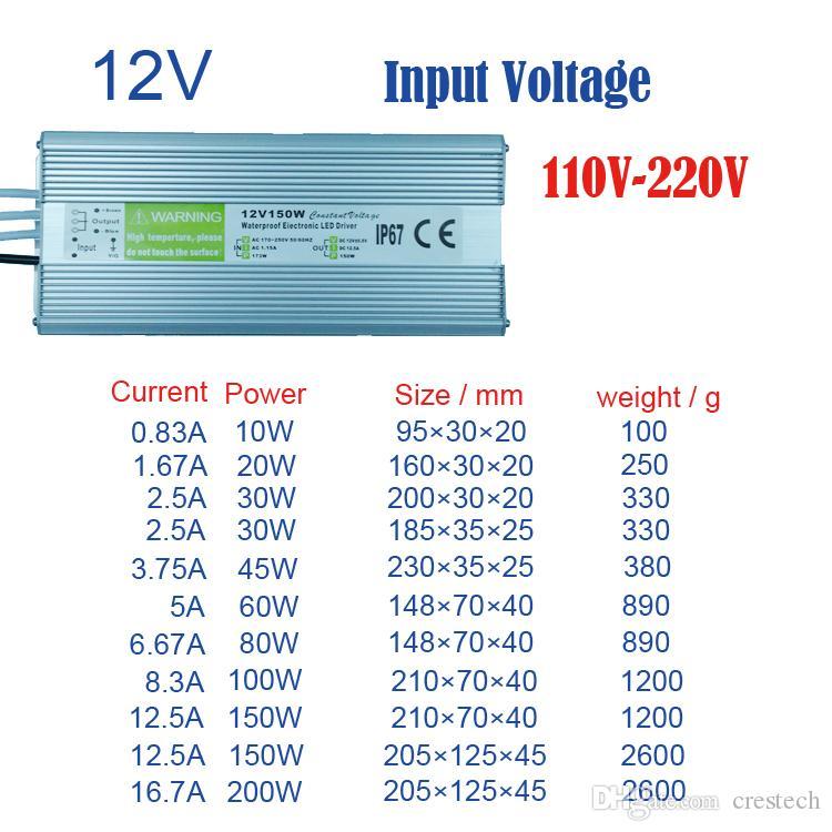 DC12V Étanche IP65 Alimentation AC110-240V Entrée DC12V sortie 10W 20W 30W 45W 60W 80W 100W 150W 200W Transformateurs à led