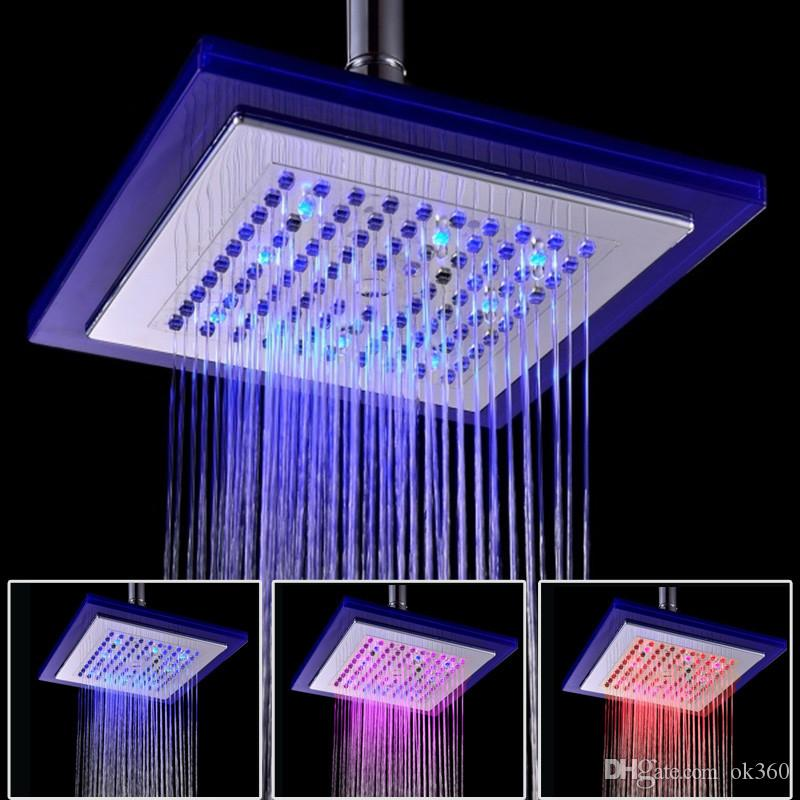 2017 Auto Changing Led Shower 8 Square Head Light Water Bathroom Rain Top  Rainfall Shower Heads From Ok360, $36.1 | Dhgate.Com