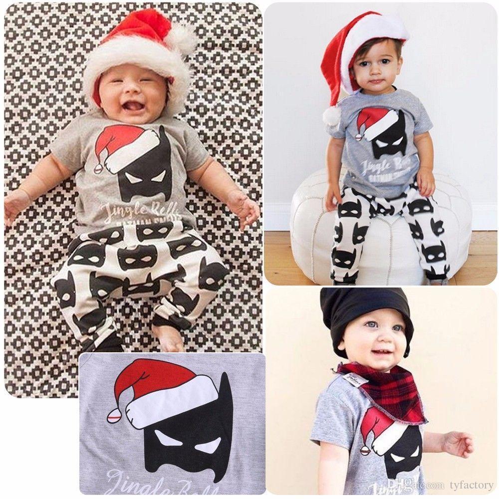 Newborn Baby Boy Summer Christmas Short Sleeve Batman Cartoon T