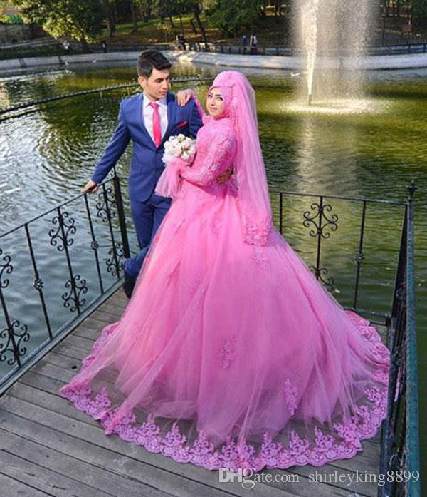 Compre Rosa Árabe Mangas Largas Vestidos De Novia De Encaje Musulmán ...
