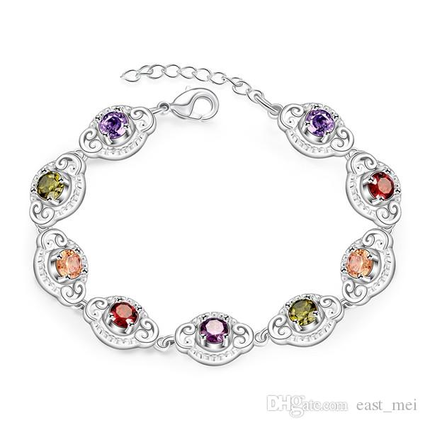 top sale Disc inlay plate 925 silver charm bracelet 8inchs EMB427,women's sterling silver plated jewelry bracelet