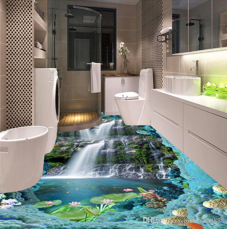 wallpaper luxus 3d flooring Custom wall paper rolls Beach beach scenery 3d floor modern wallpaper for the bedroom 3d flooring