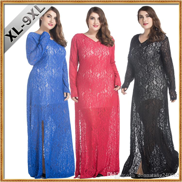 4c315864e66cf XL-9XL Larger Size Clothing Vestidos Femininos Fat Women Sexy Hollow Out  Bodycon Evening Party Dresses Thigh Split Long Lace Maxi Dress
