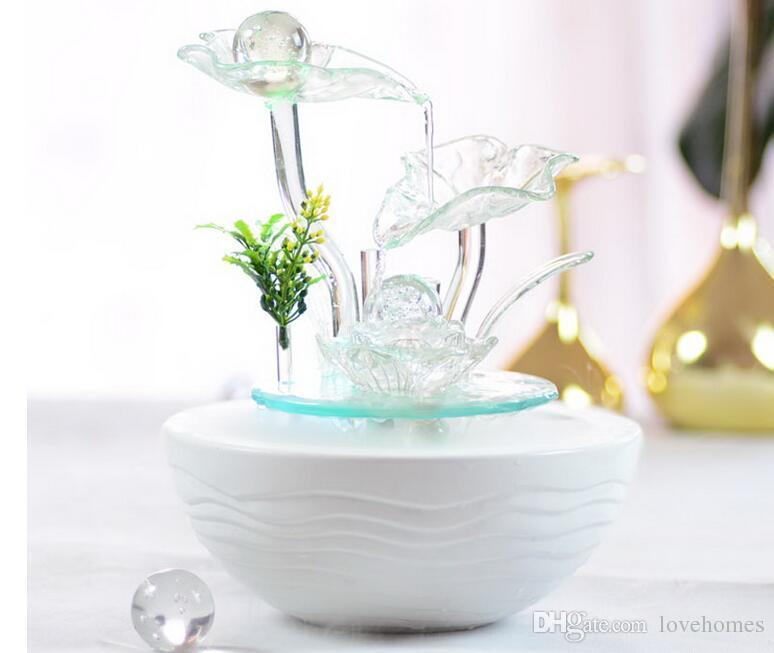 Fontaine d'eau intérieure avec Led Lights Coasted Tiered Rock Bowl Fontaine Beaux Arts et Métiers RM02