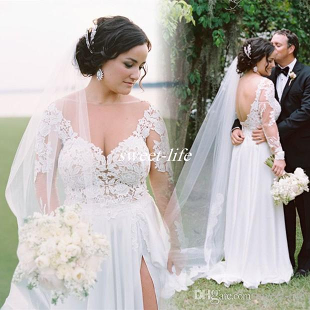 Large Size Wedding Gowns: Sexy Plus Size Long Sleeve Wedding Dresses A-line Chiffon
