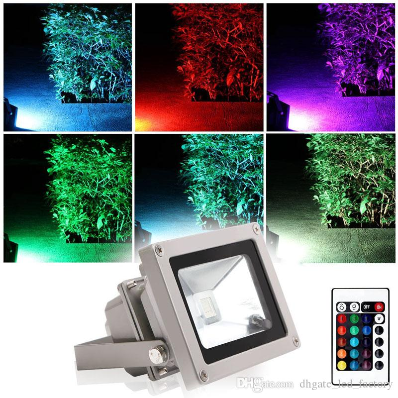 Led Flood Lights 10w Waterproof Security Lamp Multi Color Remote