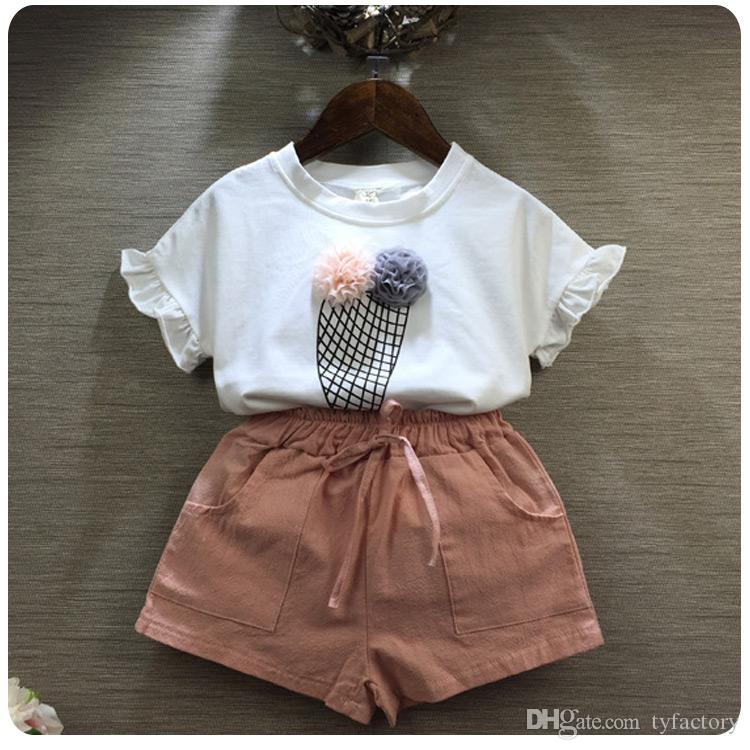 Toddler Summer Elegant Outfit Clothes Kids Baby Girl Ruffled Top Ice-cream Pattern White T-shirt+ Pink Pants Suit 3-8T