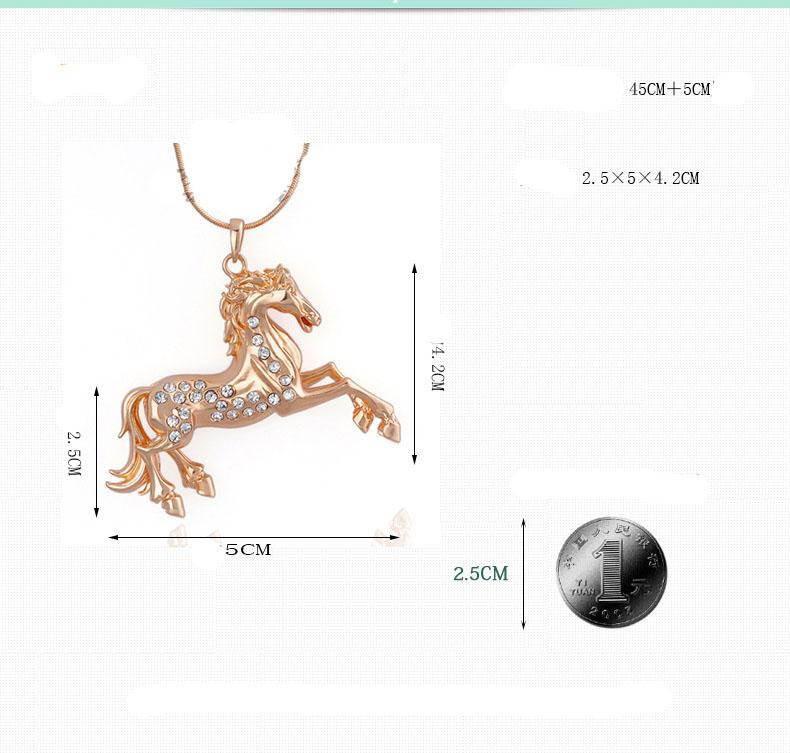 Women Gold Pendant Necklace Austrian Crystal Necklace Alloy Animal Horse Pendant Decorated Choker Pendant Necklace Charms Jewelry New Hot