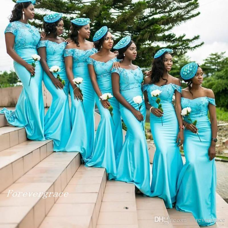 Country Style Cap Sleeves Bridesmaid Dress Lace Bodice Turquoise South African Maid of Honor Dress Wedding Guest Gown Custom Made Plus Size