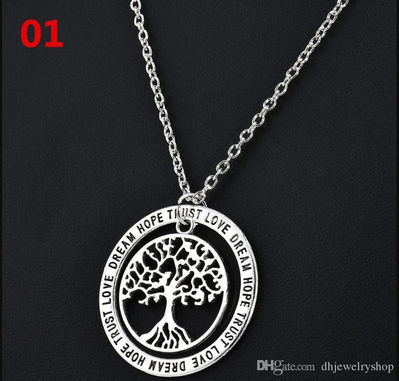 Мода Дерево жизни семейные подарки любовь мечта надежда доверие слова кулон ожерелье ювелирные изделия