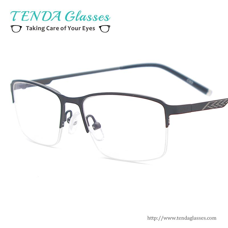 2018 Wholesale Men Lightweight Glasses Frame Metal Half Rim Square ...