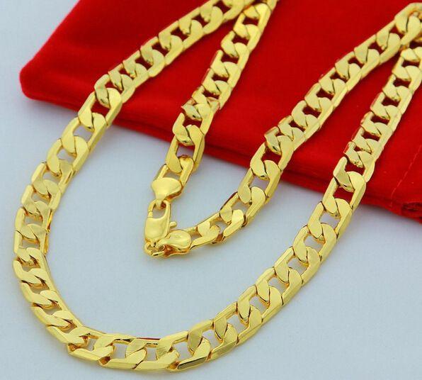 Nuovo grande 10 millimetri dia giallo solido oro riempito collana a catena cubana di spessore mens gioielli donna fresco papà fidanzato regalo di compleanno