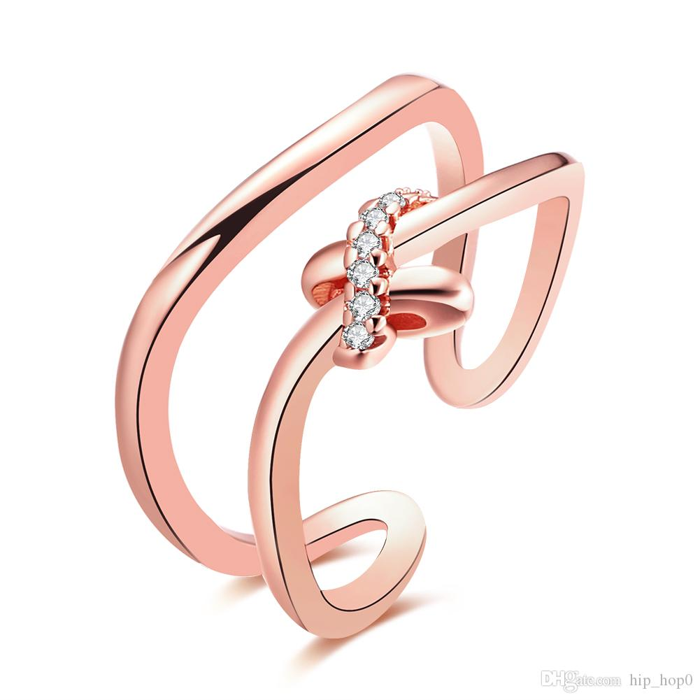 Beautiful Ring Female Statement Ring Inlaid Stone Zircon Jewelry Fashion 18K Gold Plated Crystal Jewelry Opened Ring Adjust Size Best Gift