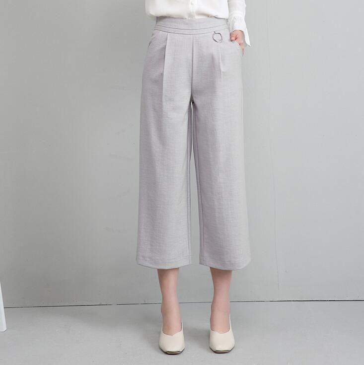 Bom A ++ perna larga do sexo feminino nove minutos de verão cintura alta solta grande calça casual calças PW021 das mulheres Capris