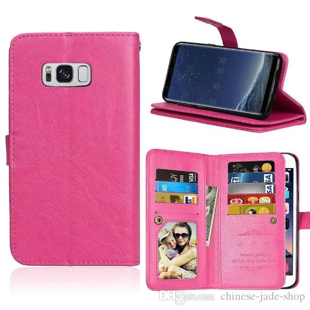 9 Card Slot Money Photo frame Stand Wallet Case for IPHONE 5 5S SE 6 6S 7 Galaxy S4 S5 S6 S6 EDGE S7 S7 EDGE J3 2017