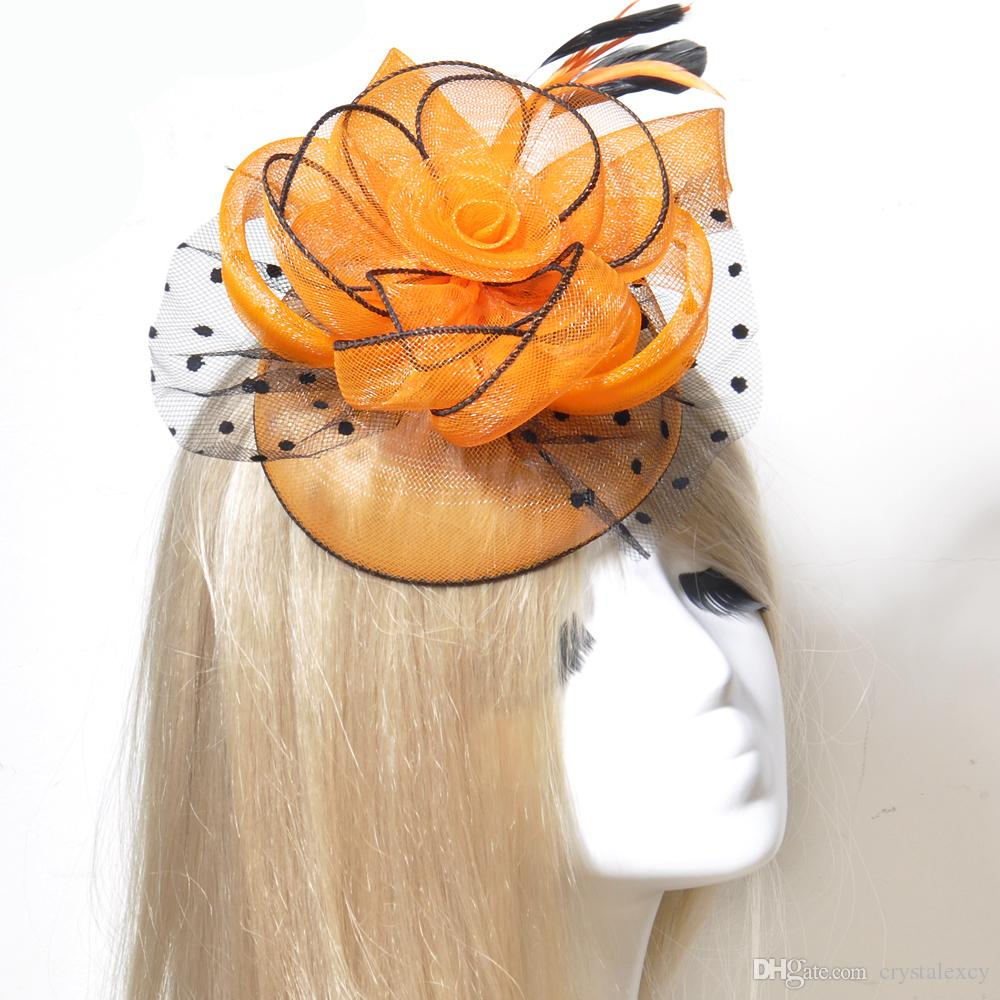 2018 New Handmade Birdcage Face Veil Hat Wedding Bridal Fascinator Orange  Hair Clip Handmade Hairpieces Best Gift For Ladies Women Girl Headwear From  ... 43eaf3dcb68