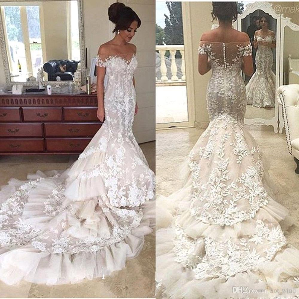 01fa10c6a7f 2017 Luxury 3D Floral Appliques Lace Mermaid Wedding Dresses Off The  Shoulder Short Sleeve Tiered Skirts Bridal Gowns Long Train BA4118 White  Mermaid ...