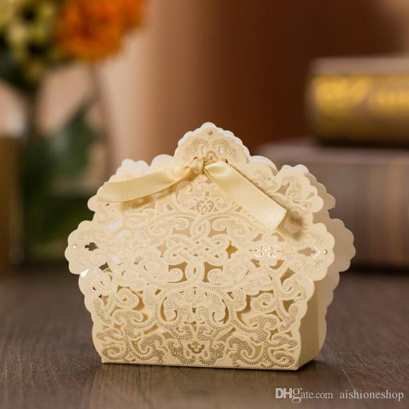 Hot Selling Wedding Candy Box Champagne Gold Laser Cut Wedding Favor