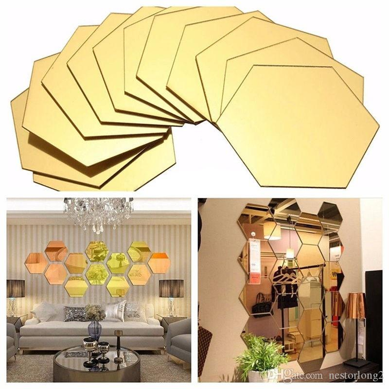 1set of 12pcs Hexagon Decorative 3D Acrylic Mirror Wall Stickers Living Room Bedroom Home Decor Room Decoration 8*4CM