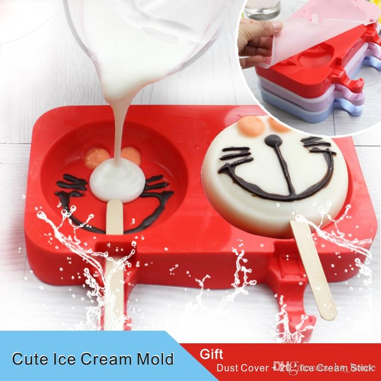 2-3 Cavities Cute Cartoon DIY Silicone Ice Cream Mold Popsicle Molds Ice Tray Cube Tools Frozen Popsicle Gift Dust cover+20 ice cream sticks