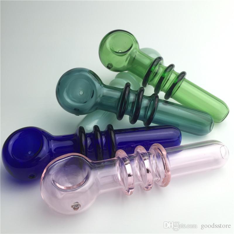 Yeni varış tütün boru cam sigara boruları ile pembe yeşil mavi renkli kalın pyrex cam mini el boruları